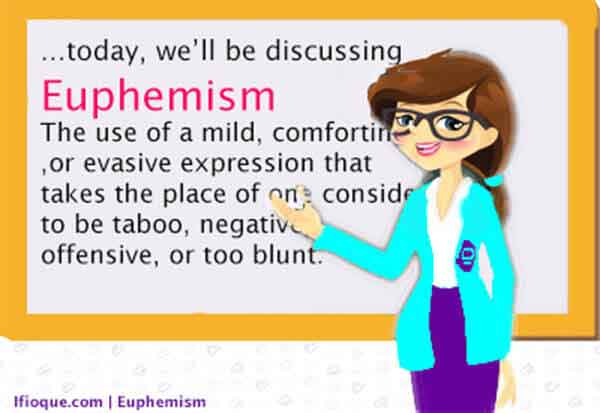 Euphemism consists in using a mild, comforting term in place of one considered negative, or offensive.