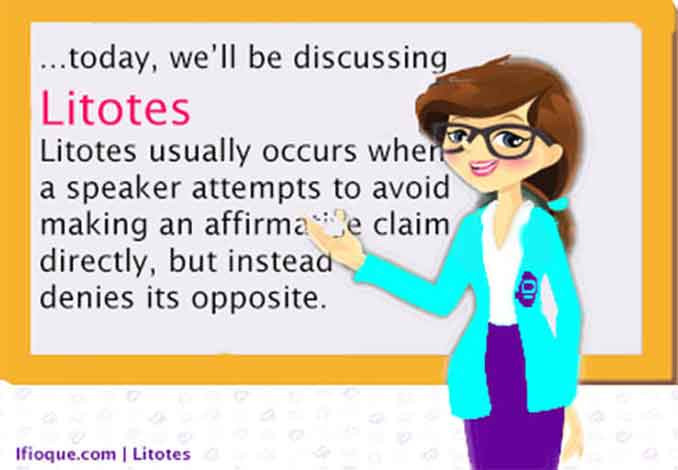 Litotes usually occurs when a speaker attempts to avoid making an affirmative claim directly, but instead denies its opposite.